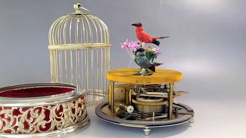 Automaton Mechanical Singing Bird Cage
