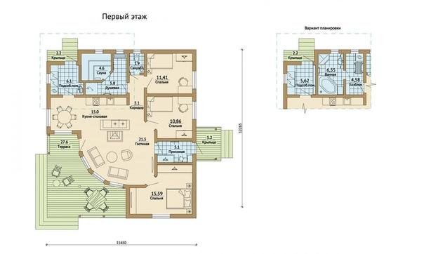 Одноэтажный дом на три спальни с террасой