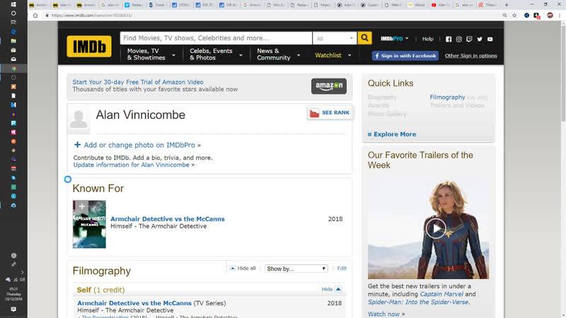 Armchair DeFective IMDB Profile Alan Vinnicombe Armchair Detective vs the McCanns TV Series?