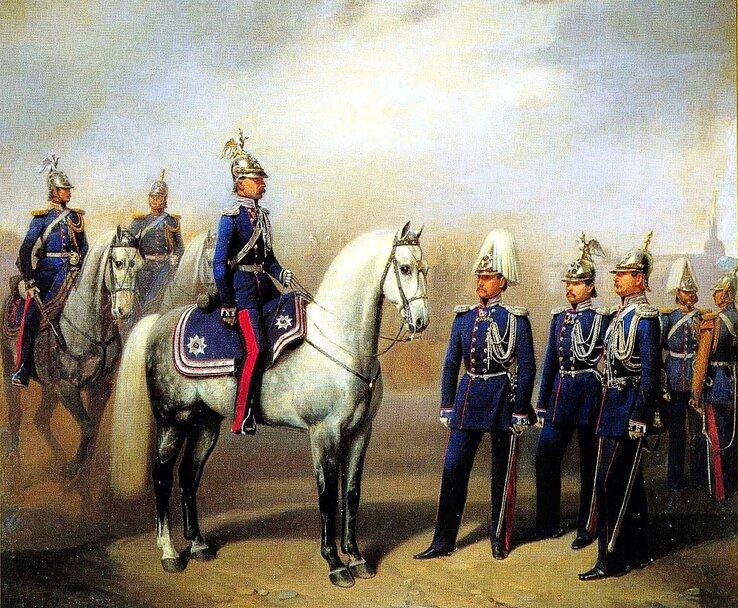 Чины лейб-гвардии Жандармского полуэскадрона. Худ. А.И. Гебенс