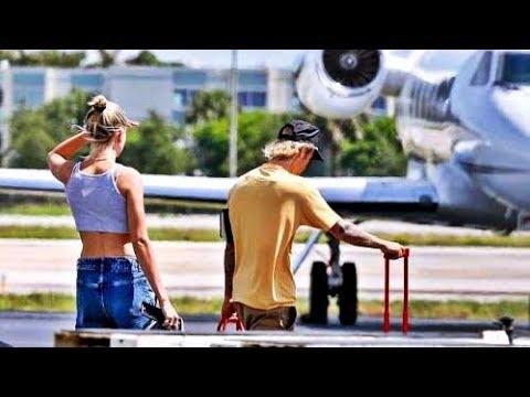 Justin Bieber and Hailey Baldwin leaving Miami. (June 12, 2018)
