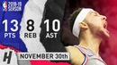 Ben Simmons Full Highlights 76ers vs Wizards 2018.11.30 - 13 Pts, 10 Ast, 8 Rebounds!