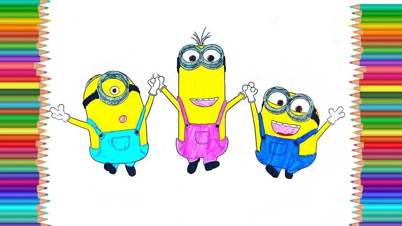 How to draw Minions. Learn Colors with Coloring pages for kids. Magic Colors Coloring Book