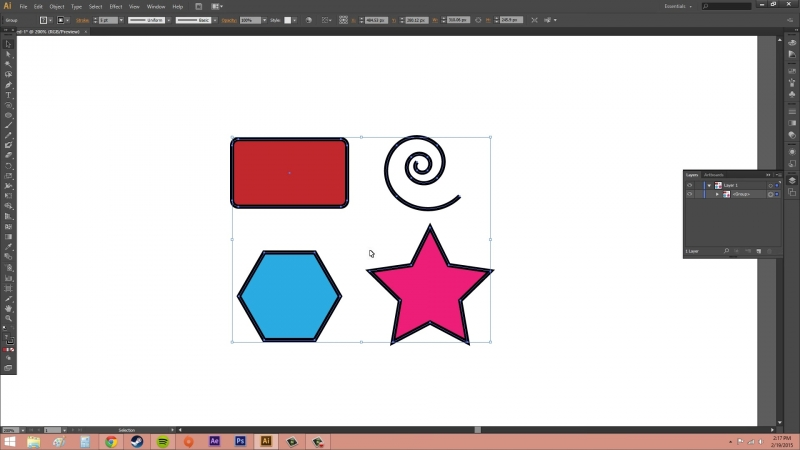 Adobe Illustrator CS6 for Beginners - Tutorial 28 - How to Group Objects Together