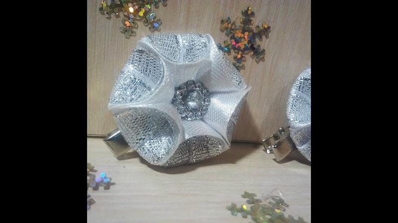 Заколочка мини - диаметр 3.5 см.Канзаши,Diy\kanzashi\satin ribbon decoration\satijnen lint decoratie