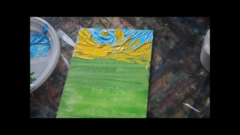 Пишем акрилом объемную картину по мотивам работ Джастина Геффри