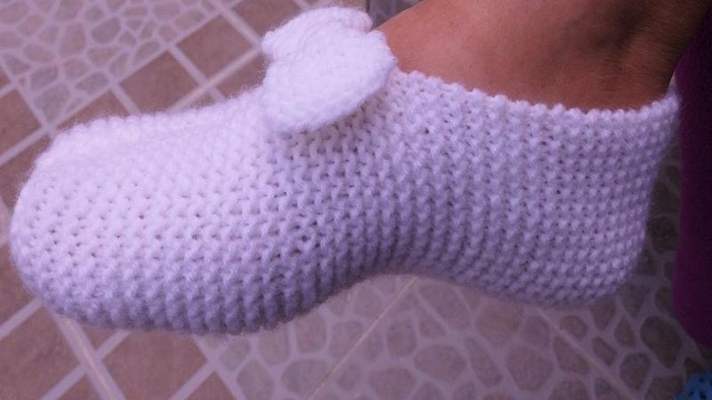 Pantuflas de lana con lazo a dos agujas ♡ Handmade Diy