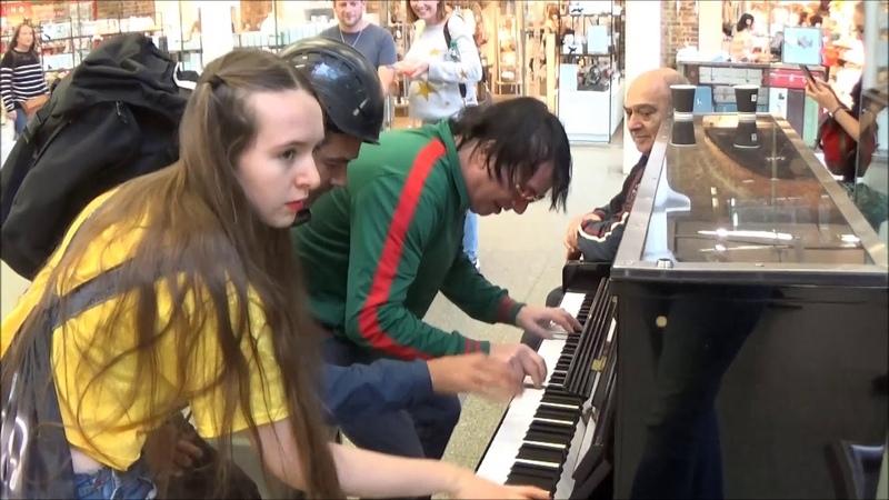 Teenage Girl Rocks The Public Piano. Dudes Gather To Watch