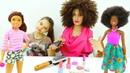 Переодеваемся в кукол - Распаковка Барби - Салон красоты для девочек.