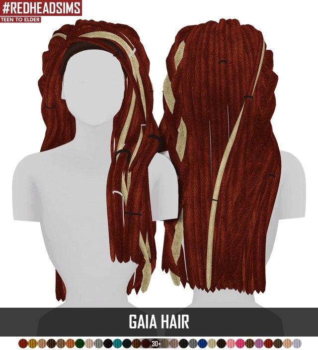 GAIA HAIR + BRAIDED VERSION by redheadsims