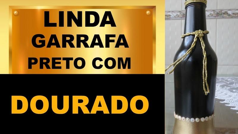 LINDA GARRAFA COM PRETO E DOURADO