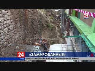 Последствия обрушения подпорной стены в Ялте. Без комментариев