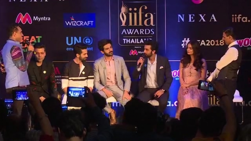 IIFA2018 press conference with Ranbir Shahid Kartik Dia Mirza and Karan Johar