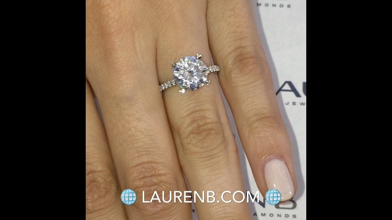 Round Moissanite with Pave Diamond Prongs