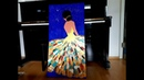 Acrylic painting palette knife beautiful woman - Acrylmalerei Spachteltechnik schöne Frau