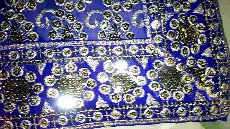 Сари \ паллу \ платок- (часть 1 ), расшитое серебристыми пайетками, синее \ тёмное \ полупрозрачное. Индия.