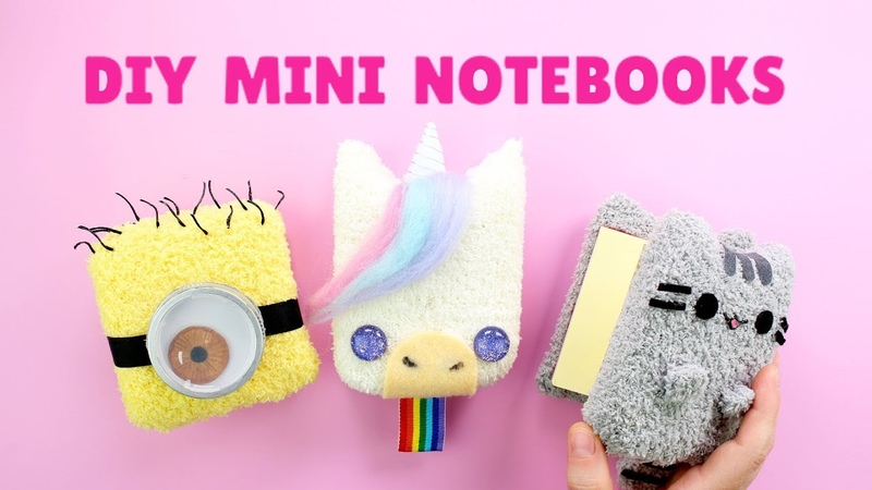 Back to School DIY Mini Plush Notebooks Pusheen Unicorn Minion Notebooks