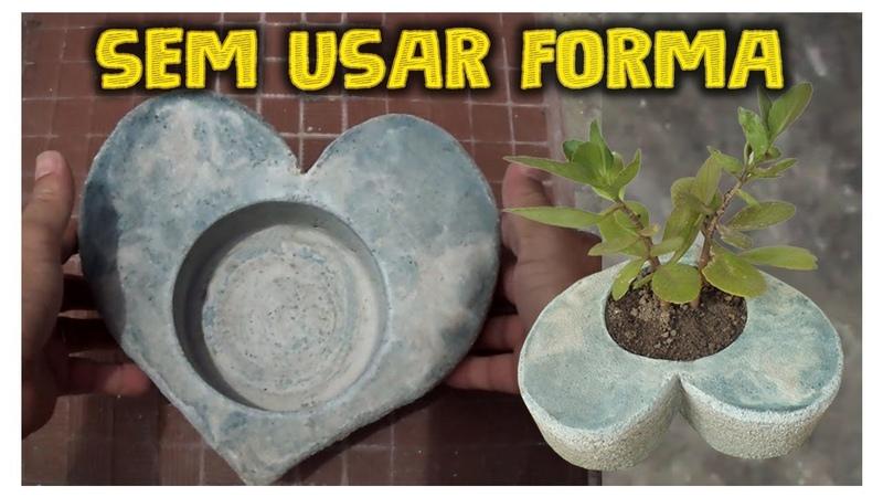Vaso de Cimento Formato Coração sem usar nenhum tipo de forma fácil de fazer