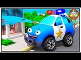 The Blue Police Car w Fire Truck - Emergency Vehicles for Children. Cars &amp Trucks Cartoon