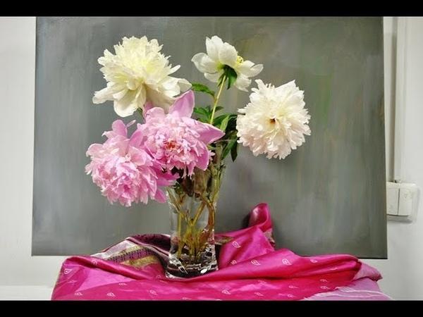 Нежный букет пионов картина маслом поэтапно. Bouquet of peonies. Picture