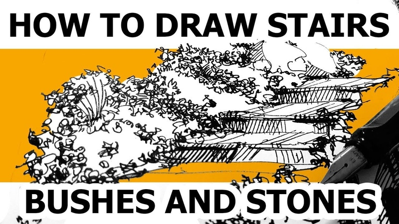 How to draw bushes, stairs and stones. Drawing with a fountain pen Lamy, Eduard Kichigin