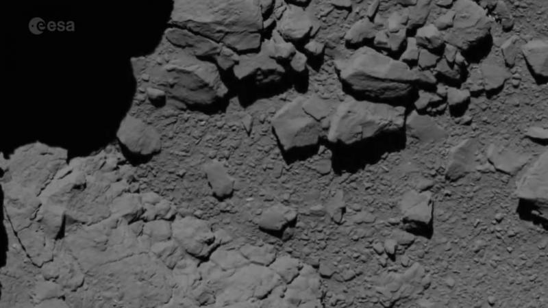 Видео составленное из снимков, которые Rosetta сделал в последние часы своей работы 30 сентября 2016 г.