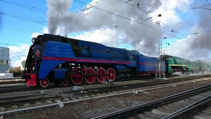 Паровозы П36 0027 и П36 0120 на Перово-IV с товарняком