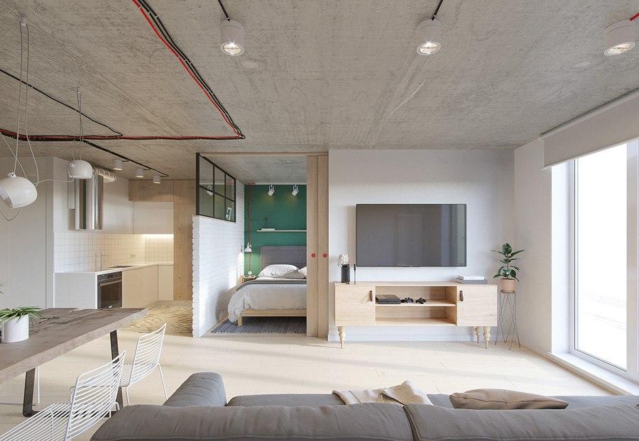 Проект квартиры почти 49 м (с лоджией 52 м) под лофт.