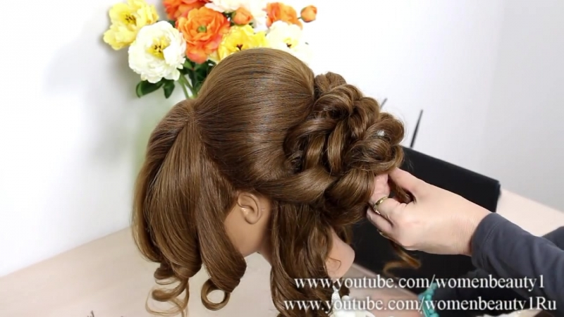Bridal hairstyle for long medium hair tutorial. Romantic updo