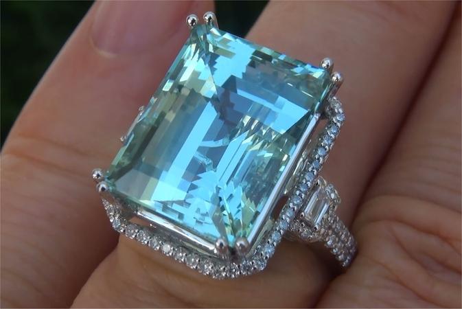 $22,000 GIA Certified FLAWLESS Natural Aquamarine Diamond 14k White Gold Estate Ring - C528