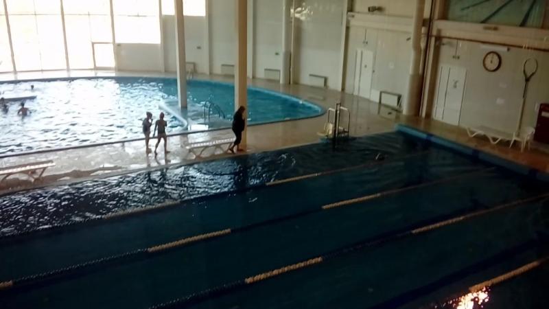 Кристина в большом бассейне. Моя малышка уже проплывает его от начала до конца. Март 2018. ФОК г.Гусев