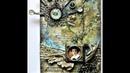 Soulmates Mixed Media Collage on Balsa Wood Panel by Sanda Reynolds