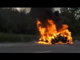 На трассе M4 у Горячего ключа сгорел БМВ