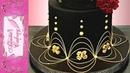 Gold Black Wedding Cake - with Lambeth type piping.