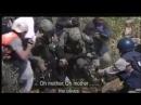 Israeli soldiers cut down Palestinian farmers' olive trees Israelische Soldaten haben die Olivenbäume der palästinensischen Baue