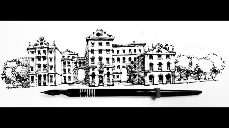 Скетчинг, рисую Городской Итальянский Вид Пером И Тушью