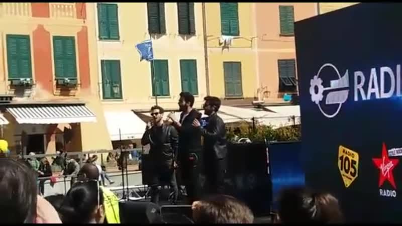 Il Volo Musica che resta Portofino le prove in PIazzetta 06 04 19