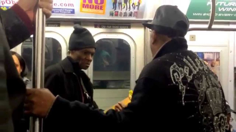 Michael Young (Mike Yung) Dennis performing Oh Girl by the Chi-Lites, J-train, NYC