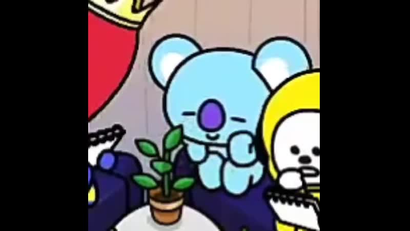 @BT21 koya staring fondly at his little plant talking to it thats so cute