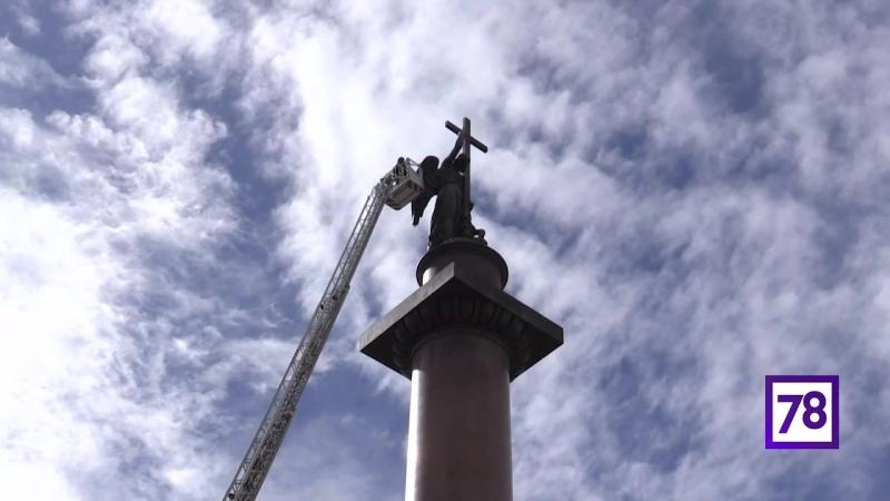 Помывка Александровской колонны