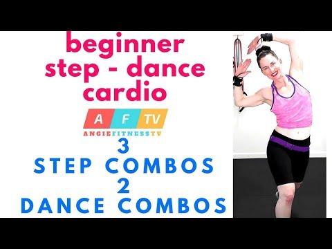 BEGINNER STEP AEROBICS AND DANCE INSPIRED WORKOUT | 3 STEP 2 FLOOR COMBOS | ANGIEFITNESSTV