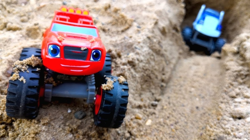 Toy trucks in sand Blaze and the monster machines toys - Monster trucks in mud