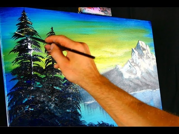 Step by step painting demo - Mountain in the Sunset - inspired by Bob Ross