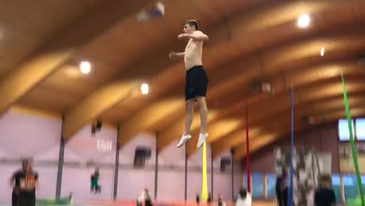 "Robin Hager on Instagram: ""Old clip from @bouncelab_belp that I never posted🔥 With @ramonwalter @trampolin_noelle @gregroetrampoline grtcrew @swis..."