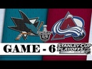 Colorado Avalanche vs San Jose Sharks | Second round | Game 6 | Stanley Cup 2019 | Обзор