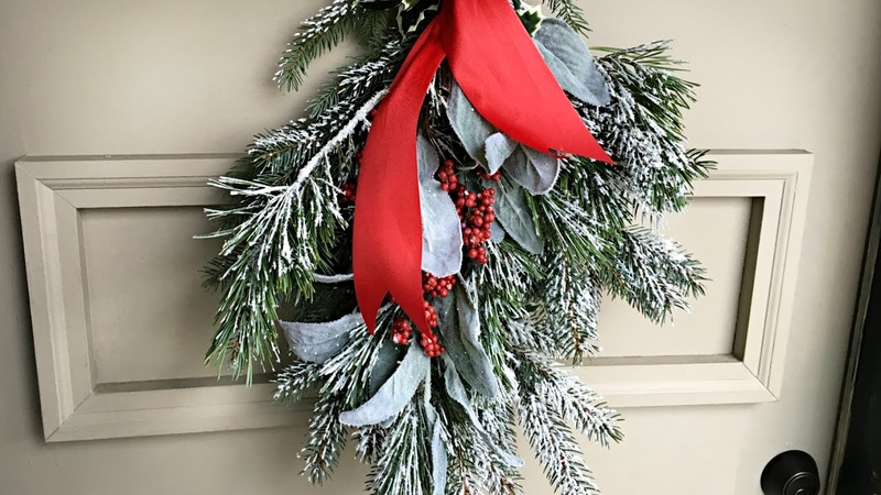 Flocked Christmas Swag Decor - How To Make An Evergreen Swag - DIY Christmas Decorating