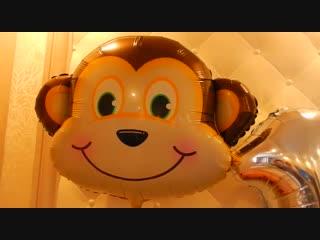 Оформление на годик :-------------------------------------Большой шар с надписью и тасселом, Фольгированные зверюшки Фольг