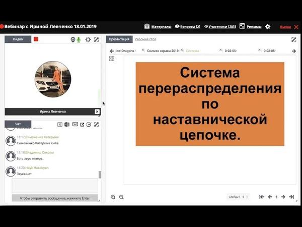 Распределение по наставническим цепочкам Вебинар с Ириной Левченко 18 01 2019 г.