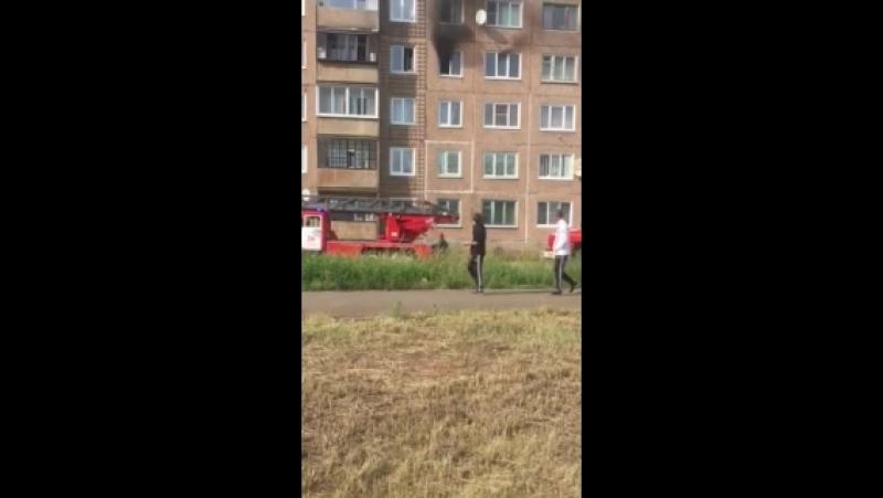 Пожар в доме 59 по улице Гагарина. Июль 2018. Братск.