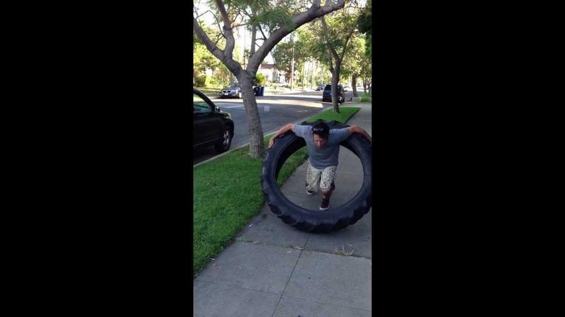 Guy Hula Hoops 100 pound Tire WORLD RECORD! ORIGINAL